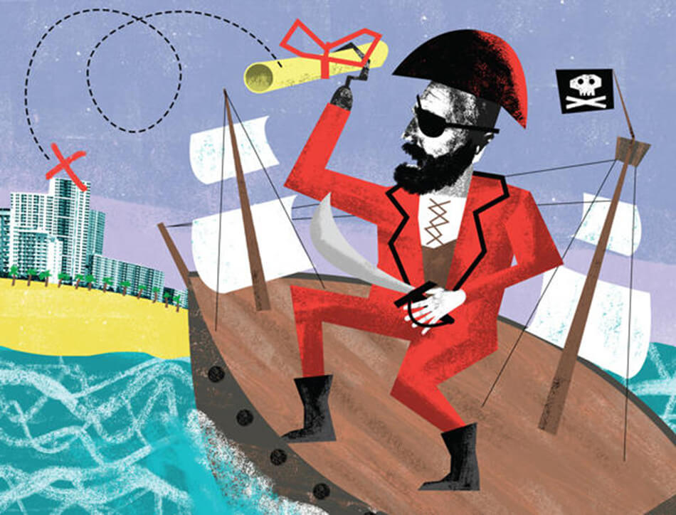 Title fraud is on the rise. Here's why it won't stop anytime soon. South Florida is fertile ground for 'title pirates' — but with no procedures in place to verify deed ownership transfers, how can property theft be stopped? By Francisco Alvarado. Illustration by Nate Kitch.